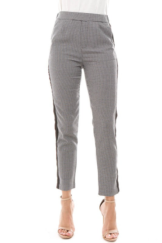 Houndstooth pant with stripe