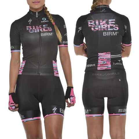 Women's Black Cycling Uniform: Jersey + Bib shorts