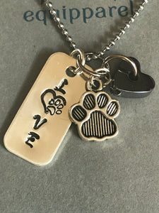 Love Paw Sterling Silver Necklace with Charm