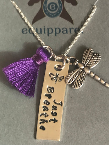 Just Breathe Necklace w/Dragonfly charm and tassel