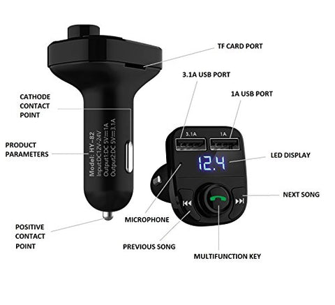 LIHAN Handsfree Car Charger,Bluetooth FM Transmitter&Music adapter,3.1A Dual USB Port Charger compatible for Apple iphone,Samsung Galaxy,LG,HTC,etc