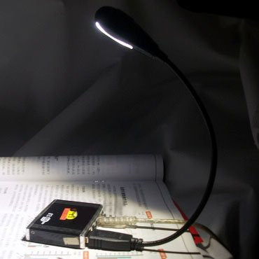 Hanerdun Bright LED USB Lamp Light Reading Lamp For Laptop Flexible Neck Black