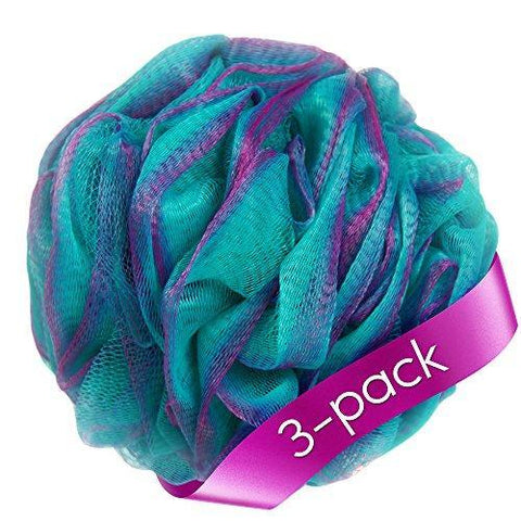 Loofah Bath Sponge Set of 3 different colors (70 gram each) by à la paix- X Large Mesh Shower Pouf Exfoliates to Silky Skin & Beauty