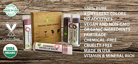 Organic Tinted Lip Balm by Sky Organics – 4 Pack Assorted Colors –- With Beeswax, Coconut Oil, Cocoa Butter, Vitamin E- Minty Lip Plumper for Dry, Chapped Lips- Tinted Lip...