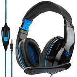LETTON G5 Gaming Headset Stereo PC Computer Headphones with Microphone,Over Ear Noise Canceling 3.5mm Jack for PS4 New Xbox One Mac Gamer,Black/Blue