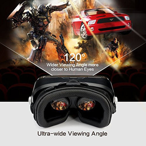 More Lighter More Comfort - ETVR Upgraded 3D VR Virtual Reality Headset Immersive Large Screen Experience VR Headset Fit For iPhone 7s/7/6s/6 Plus/LG/Samsung Galaxy etc Smartphones (4.5-6.2 Inches)