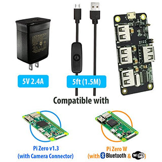 MakerSpot 4-Port Stackable USB Hub HAT for Raspberry Pi Zero V1 3 with  Protector, 2 4A Power Supply, 1 5m Micro USB Cable with On Off Switch, WiFi