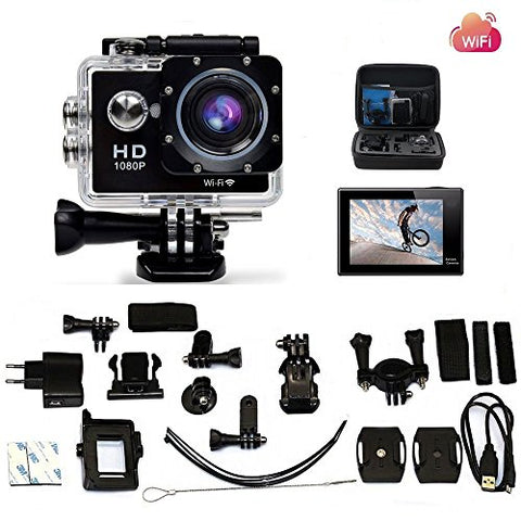 Legazone WIFI 2.0'' 12MP HD 1080P 170Wide Sports Camera Action DV + Shockproof Carrying Bag Waterproof Helmet Camcorder