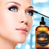 Organic Castor Oil for Eyelashes and Eyebrows by Pure Body Naturals, with Applicator Kit for Lashes & Eyebrow Growth