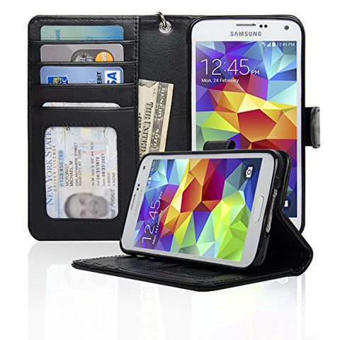 Navor Samsung Galaxy S5 / SV Book Style Folio Wallet PU Leather Case with Four Card Pockets and Money Slot (Black)