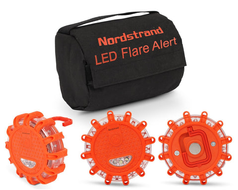 Set of 3 Nordstrand LED Flares Emergency Roadside 9.1.1 Lights Flashing Road Beacon - with Magnetic Base for Car or Marine - Storage Bag - Rainproof Amber