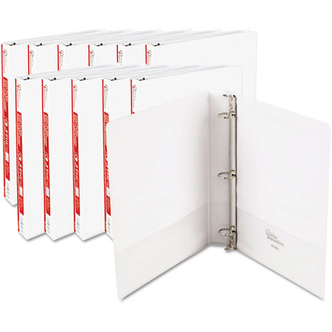 Office Impressions Round-Ring Vinyl View Binders, White, 1