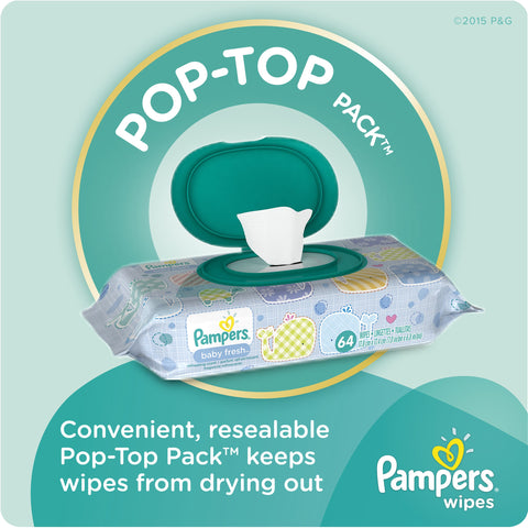 Pampers Baby Fresh Baby Wipes, Refills, 9 packs of 72 (648 count)