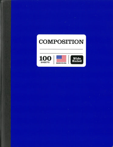 Colored Marble Composition Book, Wide Ruled, 100 Sheet, Color May Vary