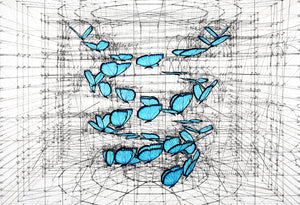 Golden Ratio Print - Blue Morpho Double Helix