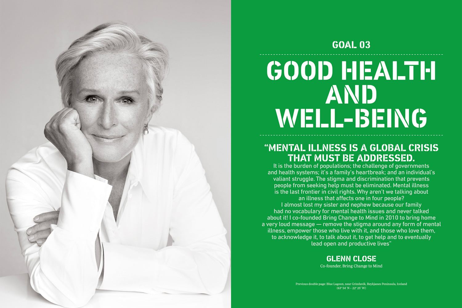 Text witten by Glenn Close of the Goal n°3 of the SDGs