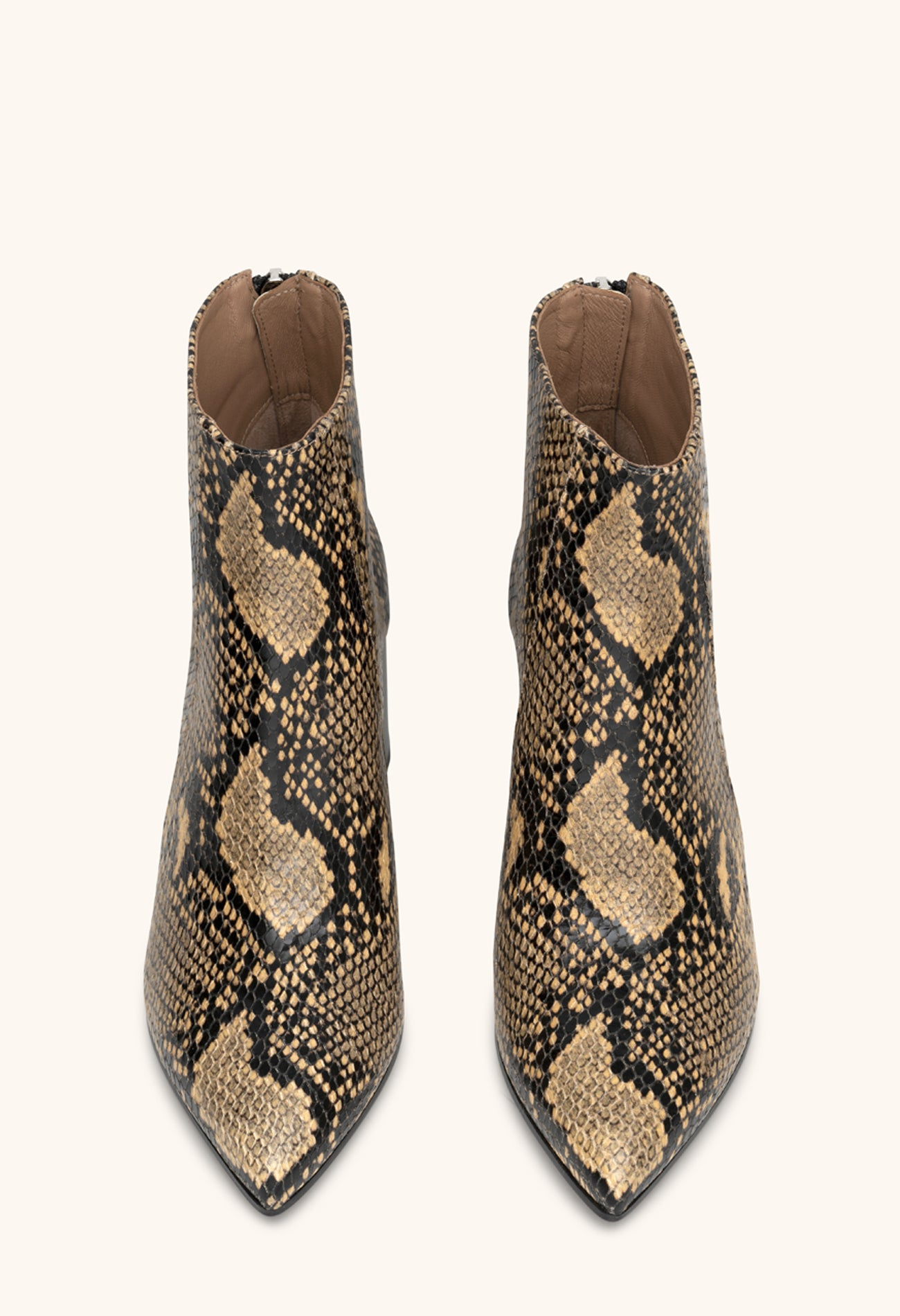 Armada ankle boots in straw python print leather