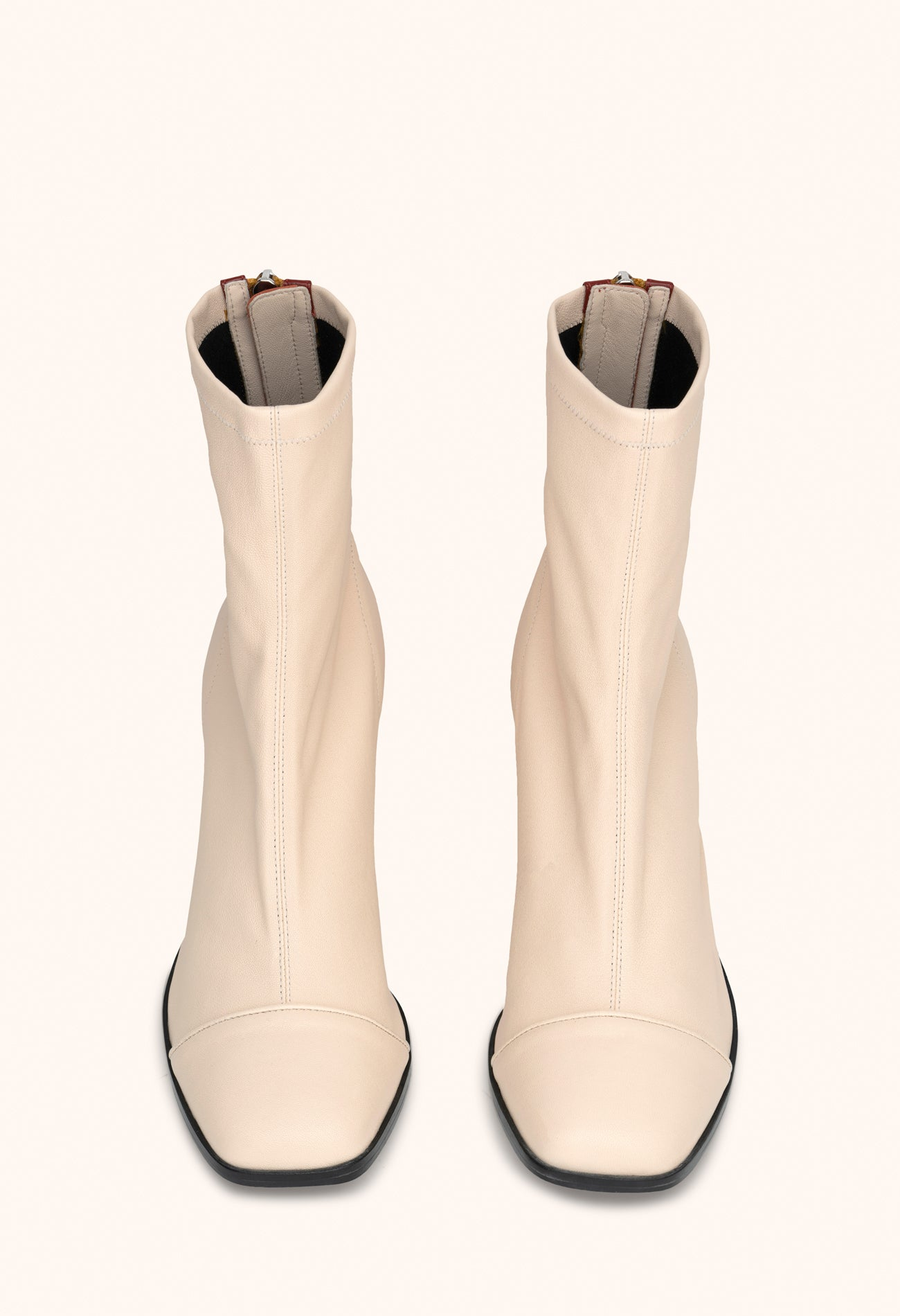 Aria ankle boots in white nappa stretch