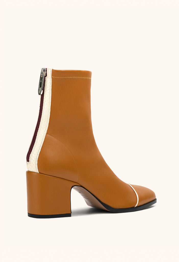 Aria ankle boots in ochre stretch nappa