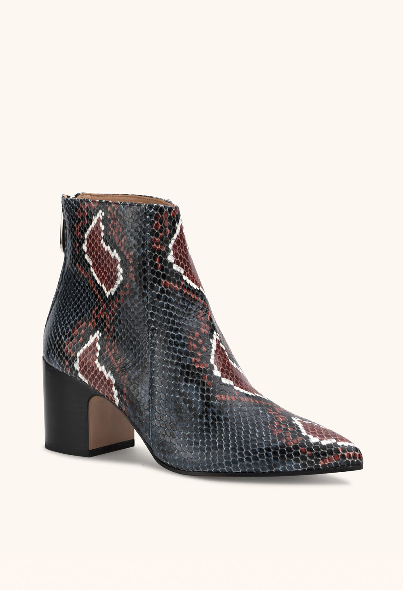Armada ankle boots in navy/brick python print leather