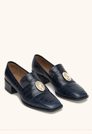 Nono Loafer in blue navy croc effect calfskin