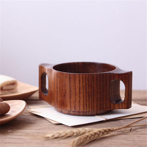 Double Handled Wood Mug
