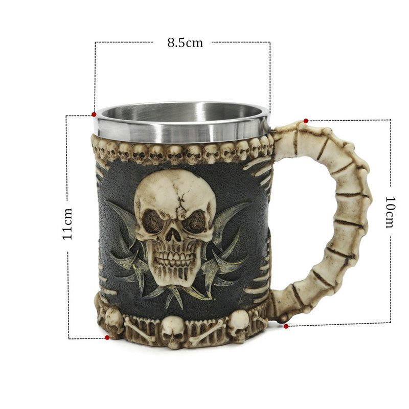 3D Multi Skull Mug Stainless Steel