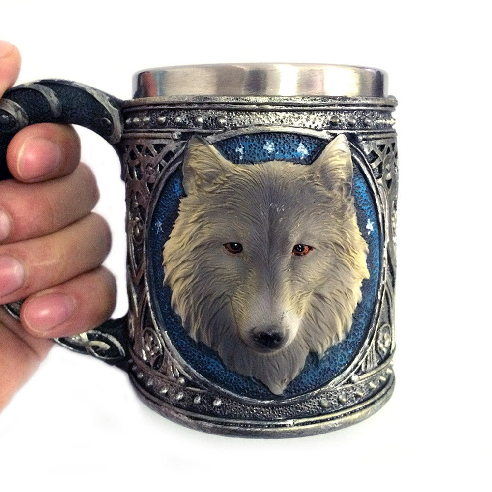Double Wall Stainless Steel Wolf Head Mug