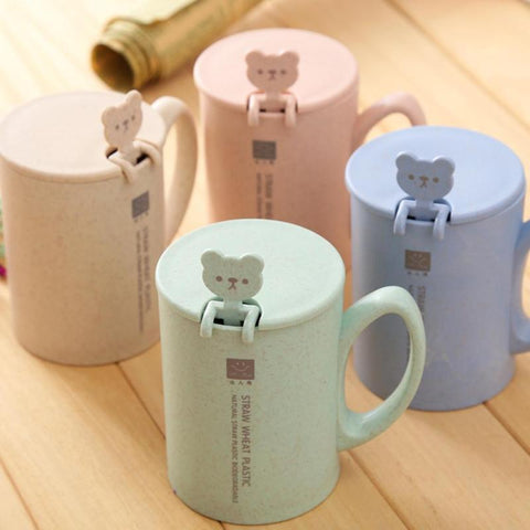 1Pc Wheat Straw Coffee Mug With Bear Spoon