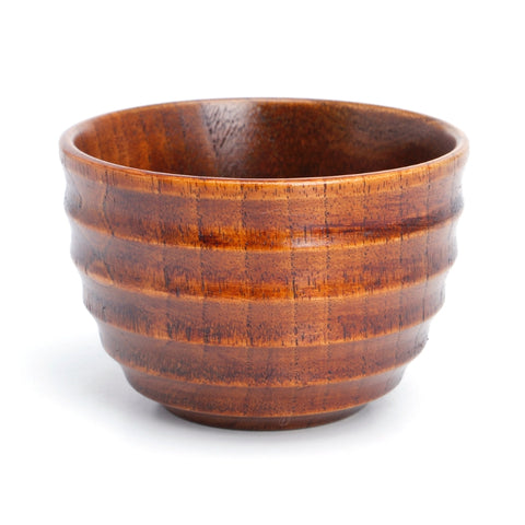 Natural Solid Wood Ridged Tea Cup