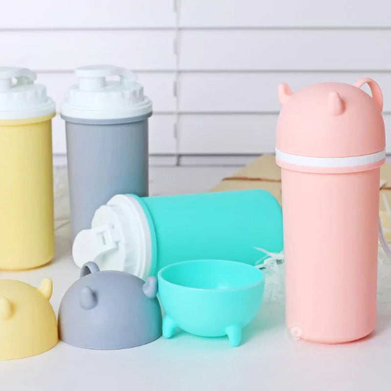 Devlis Style Cute Double Layer Plastic Mug with Lid