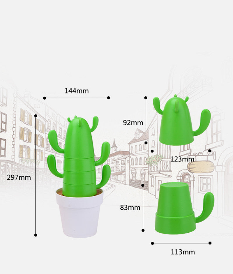 Stackable Cactus Plant Mug Set