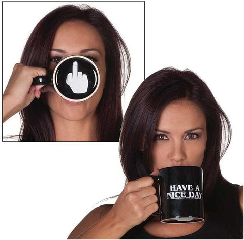 Have a Nice Day Middle Finger Ceramic Coffee Mug