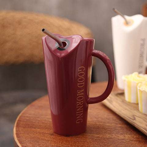 Novelty Ceramic Cup with Straw