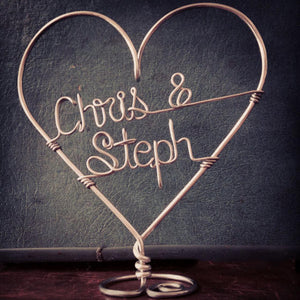 Wire Wedding   Personalized Wire Wedding Cake Topper Heart With Bride And Groom