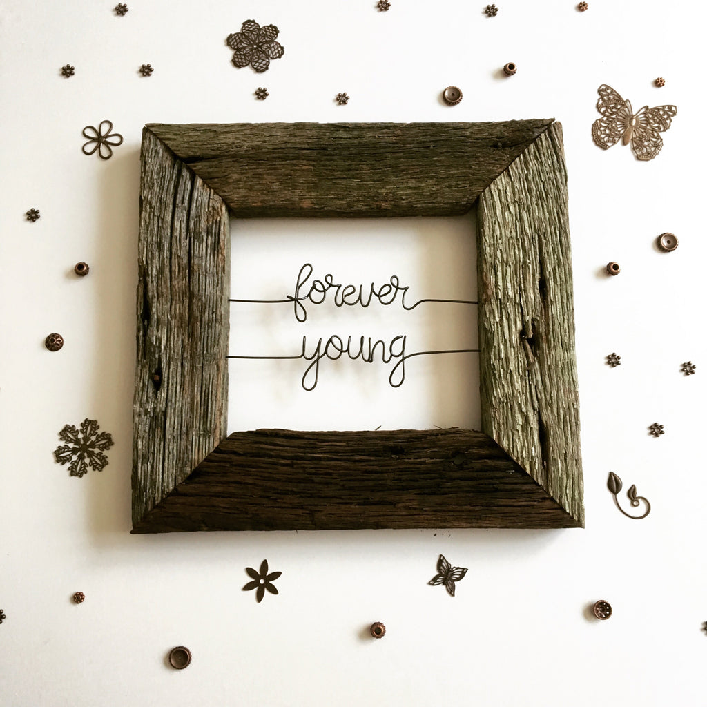 Forever Young Reclaimed Wood Wire Quote Sign Home Decor