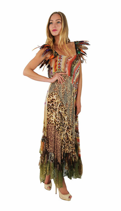 LONG SAFARI DRESS BARBARA WITH FEATHERS