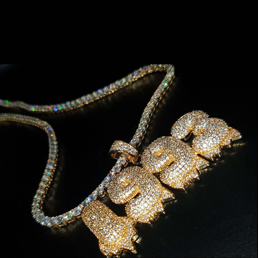 The 24K Gold Plated Custom Dripping Ice Bubble Chain
