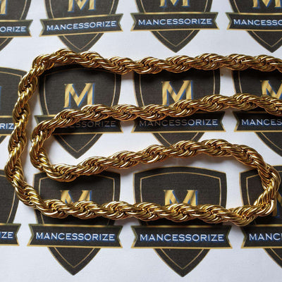 The 18K Gold Plated Stainless Steel Rope Chain - Mancessorize