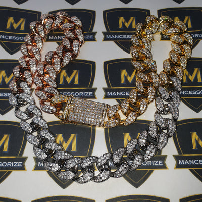 The 20mm Tri Color Iced Out Cuban Chain - Mancessorize