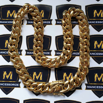 The Gold Plated Dragon Clasp Cuban Curb Chain - 8mm - 18mm