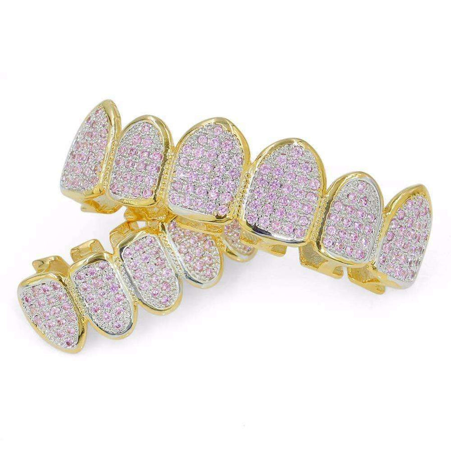 24k Gold Plated Iced Out Pink Rhinestone Grillz