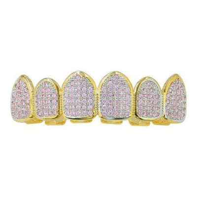 24k Gold Plated Iced Out Pink Rhinestone Grillz - Mancessorize