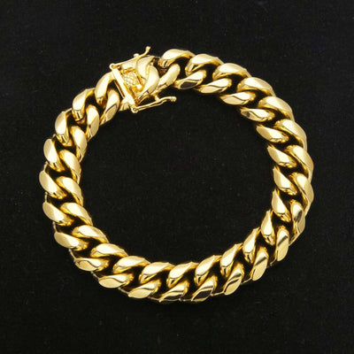 The 18K Gold Plated Cuban Bracelet (8mm - 14mm) - Mancessorize