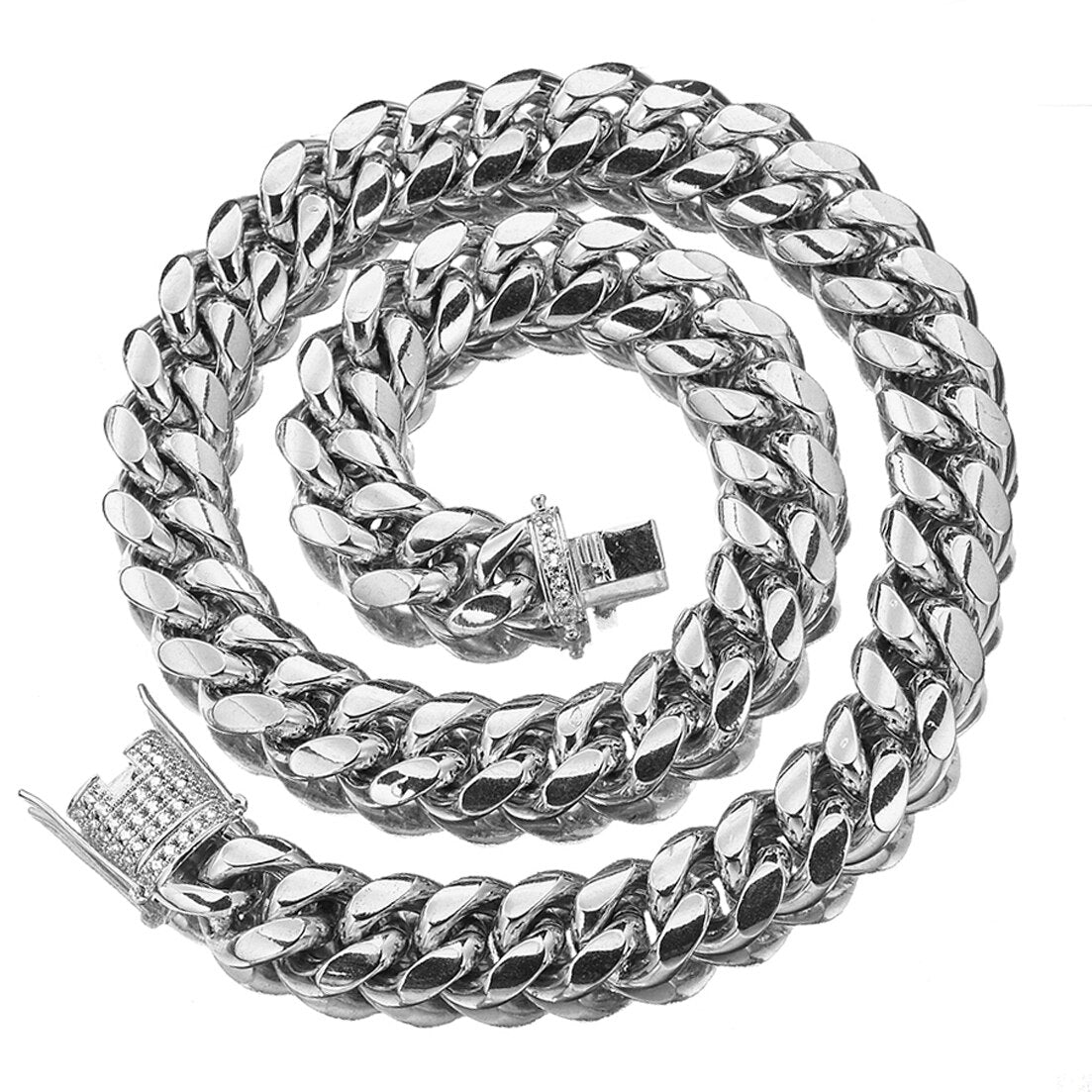 The Stainless Steel Cuban Link Chain - Iced Out Link - Mancessorize