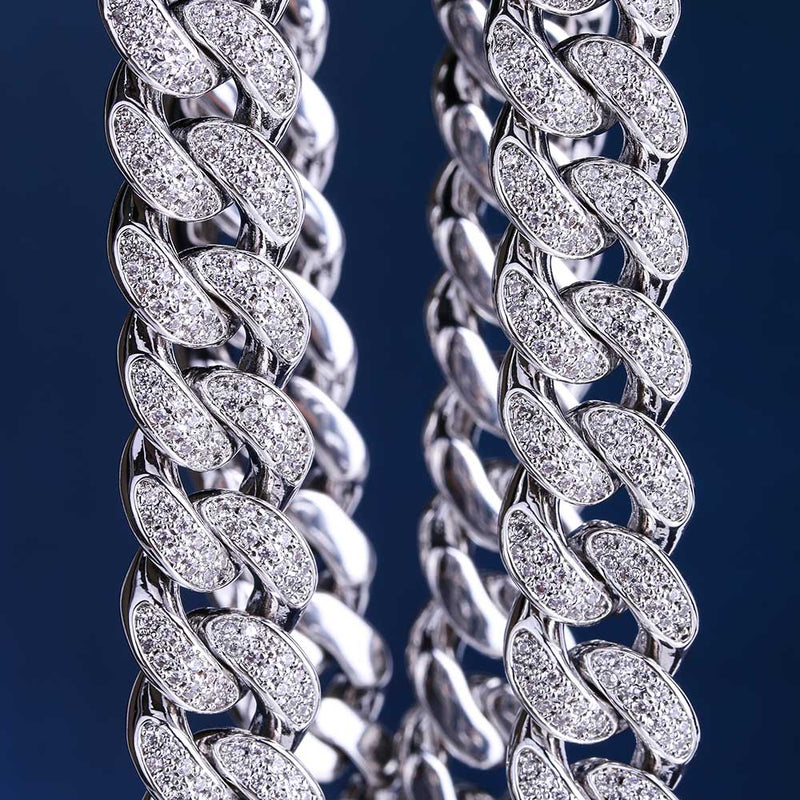 The 12mm Iced Out Cuban Chain - White Gold - Mancessorize