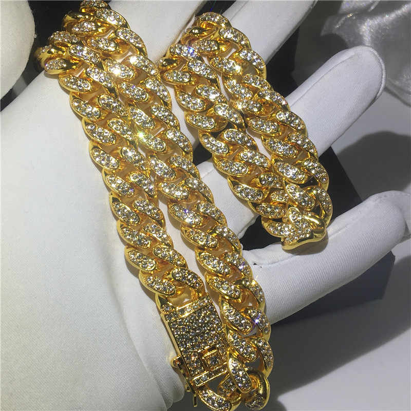 The 12mm Iced Out Cuban Chain - 18K Gold plated - Mancessorize