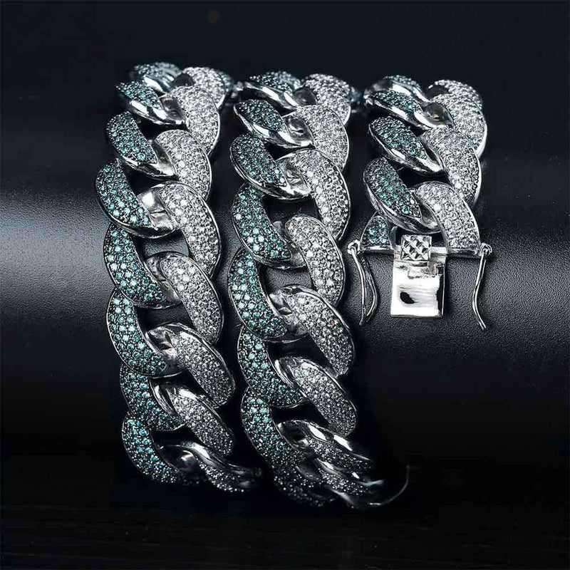 The 18mm Mint Blue Iced Out Cuban Chain - Mancessorize