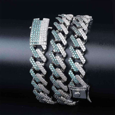 The 14MM Iced Out Curb Chain - Mint Blue - Mancessorize