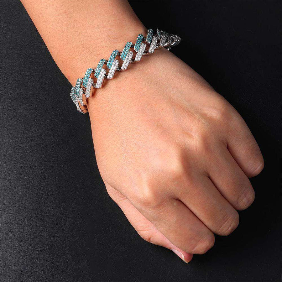 The 14MM Iced Out Curb Chain Bracelet - Mint Blue